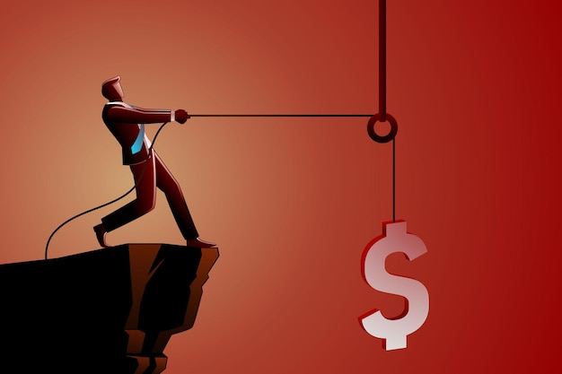 Ilustracja koncepcji biznesowej, biznesmen podnoszący symbol waluty dolara za pomocą koła pasowego