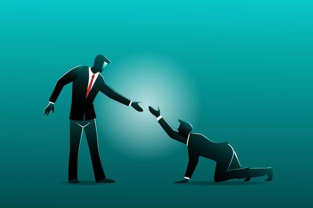 Ilustracja koncepcji biznesowej. biznesmen pomaga innemu biznesmenowi