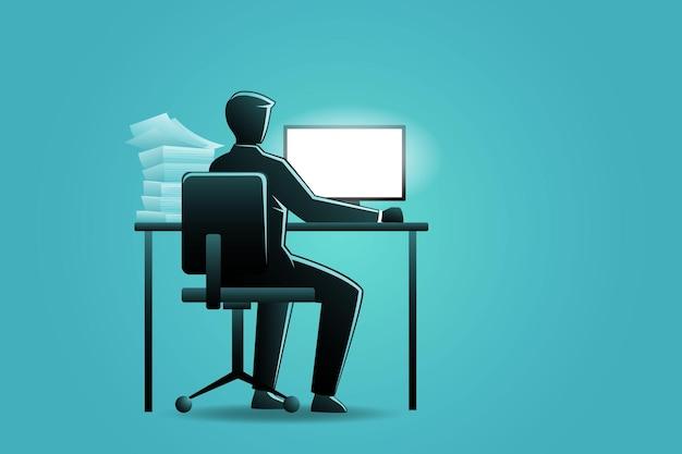Ilustracja koncepcji biznesowej, biznesmen pracujący z komputerem na biurku