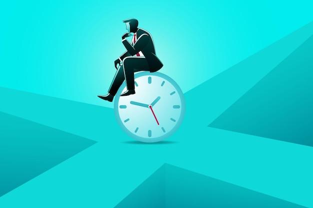 Ilustracja koncepcji biznesowej, biznesmen siedzący na zegarze, czekając na coś