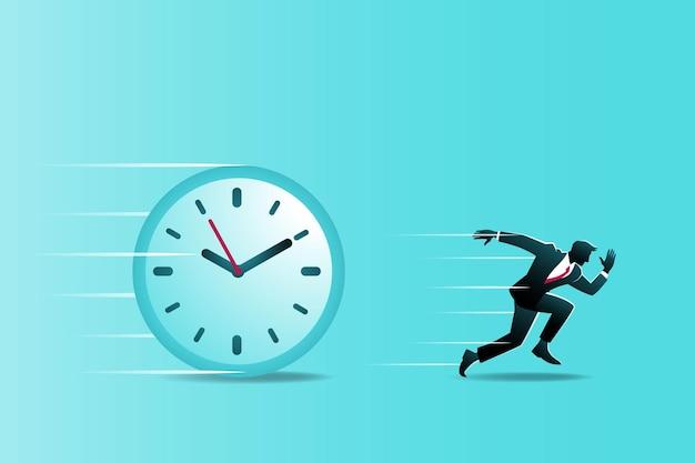 Ilustracja koncepcji biznesowej, biznesmen uruchomiony konkuruje z czasem
