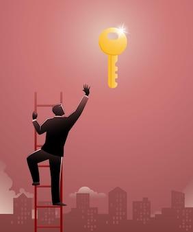 Ilustracja koncepcji biznesowej, biznesmen wspinający się po schodach, próbujący dotrzeć do klucza