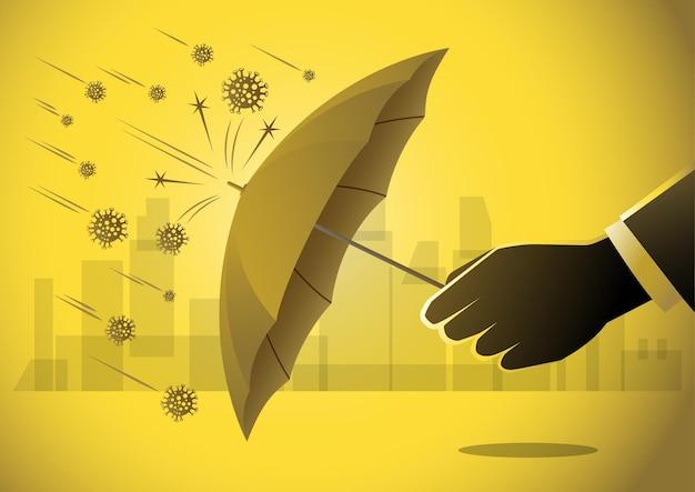 Ilustracja koncepcji biznesowej biznesmena używającego parasola do ochrony przed covid19
