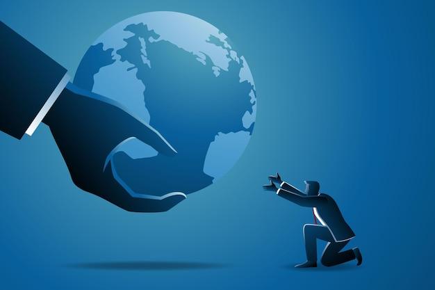 Ilustracja koncepcji biznesowej, duże strony dając planecie ziemię biznesmenowi
