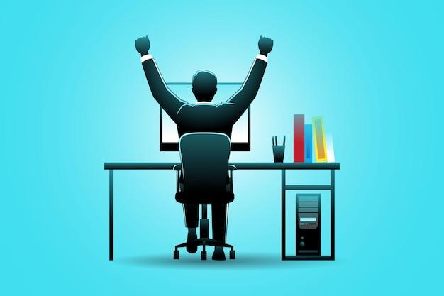 Ilustracja koncepcji biznesowej, szczęśliwy biznesmen na biurku komputerowym