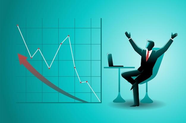 Ilustracja koncepcji biznesowej, szczęśliwy biznesmen z wykresem wzrostu finansowego