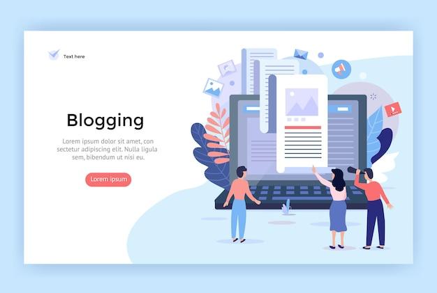 Ilustracja koncepcji blogowania idealna na stronę docelową aplikacji mobilnej z banerem internetowym