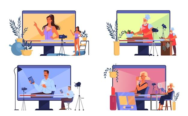 Ilustracja koncepcji blogowania wideo. idea kreatywności i tworzenia treści, nowoczesny zawód. postacie na swoim blogu nagrywają wideo kamerami.