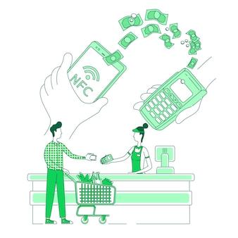 Ilustracja koncepcji cienkich linii mobilnych płatności elektronicznych klient dokonuje płatności za pomocą kasjera na smartfonie i kupującego d postaci z kreskówek do projektowania stron internetowych korzyści z inteligentnej aplikacji kreatywny pomysł