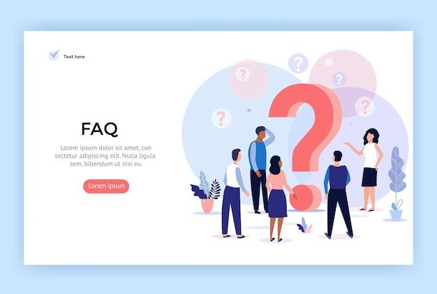 Ilustracja koncepcji często zadawane pytania ludzie wokół znaków zapytania idealnych do projektowania stron internetowych