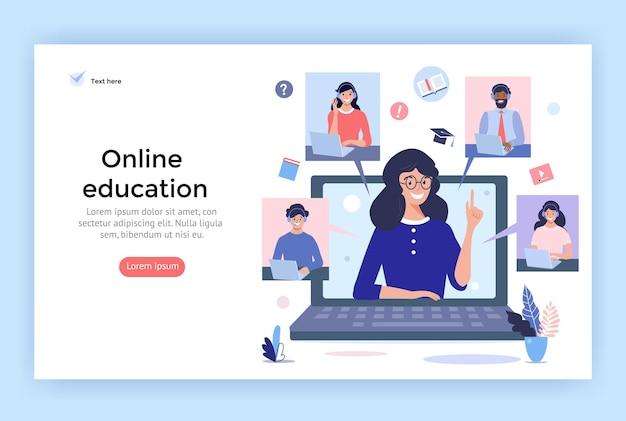 Ilustracja koncepcji edukacji online uśmiechnięci ludzie używający słuchawek do rozmowy wideo