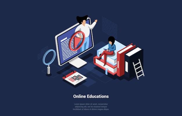 Ilustracja koncepcji edukacji online z znakami izometrycznymi. kobieta uczy się z internetu siedzi na książki, mężczyzna opowiada informacje z ekranu komputera. lupa, wokół kalendarza.
