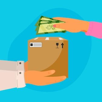 Ilustracja koncepcji gotówki przy dostawie