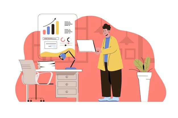 Ilustracja koncepcji internetowej strategii biznesowej z postacią płaskich ludzi