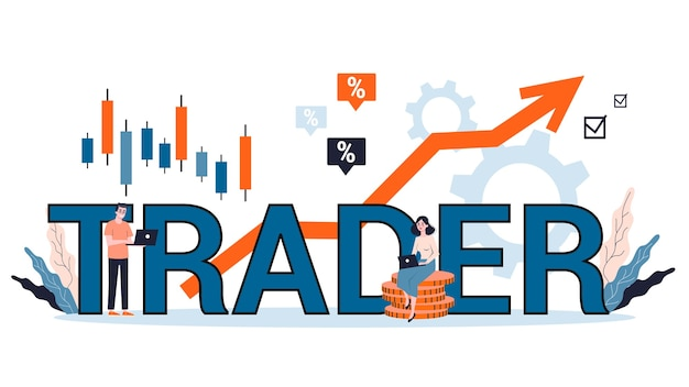 Ilustracja koncepcji inwestycji finansowych. kupuj, sprzedawaj lub trać zyski, strategia handlowa. koncepcja banera internetowego przedsiębiorcy. idea wzrostu pieniędzy i wzrostu finansów. ilustracja w stylu