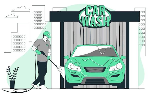 Ilustracja koncepcji myjni samochodowej