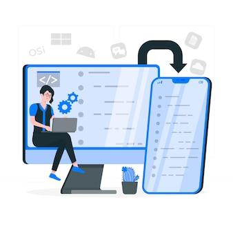 Ilustracja koncepcji oprogramowania na wielu platformach