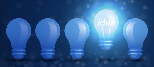 Ilustracja koncepcji pomysłu z rzędem żarówek i jedną dziwną świecącą i podnoszącą się żarówką