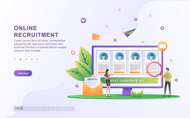 Ilustracja koncepcji rekrutacja online. biznesmen i kobiety otwierają rekrutację, szukają talentów, wznawiają pracę.