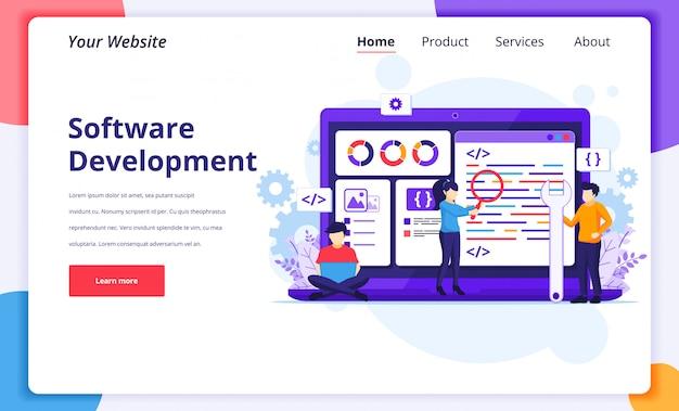Ilustracja koncepcji rozwoju oprogramowania, ludzie pracują na gigantycznym laptopie programując i kodując stronę docelową witryny