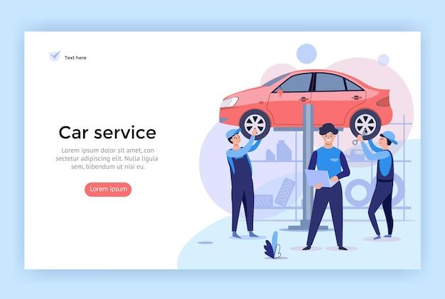 Ilustracja koncepcji serwisu samochodowego idealna do projektowania stron internetowych
