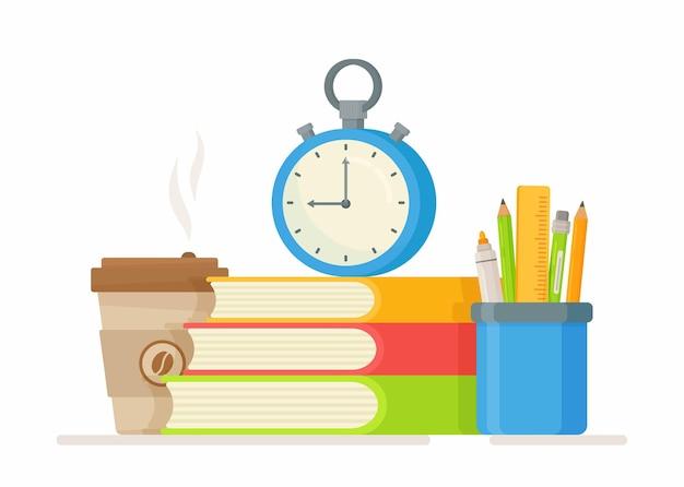 Ilustracja koncepcji szkoły. podręczniki szkolne, szklanka do kawy, zegar, długopisy. płaska konstrukcja przyborów szkolnych. powrót do szkoły.