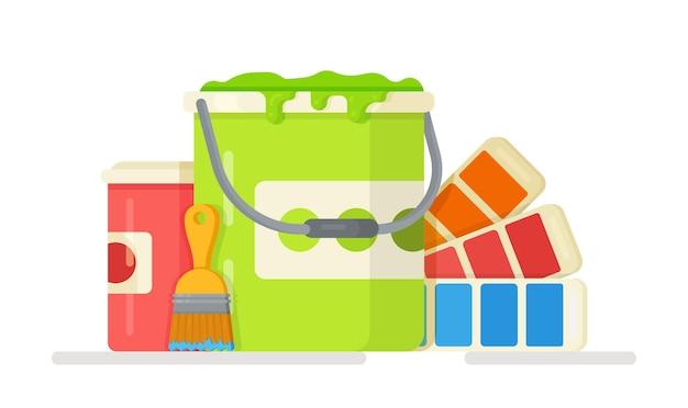 Ilustracja koncepcji wyboru farby do nowego pokoju paleta w kolorach niebieskim, czerwonym, zielonym i pomarańczowym