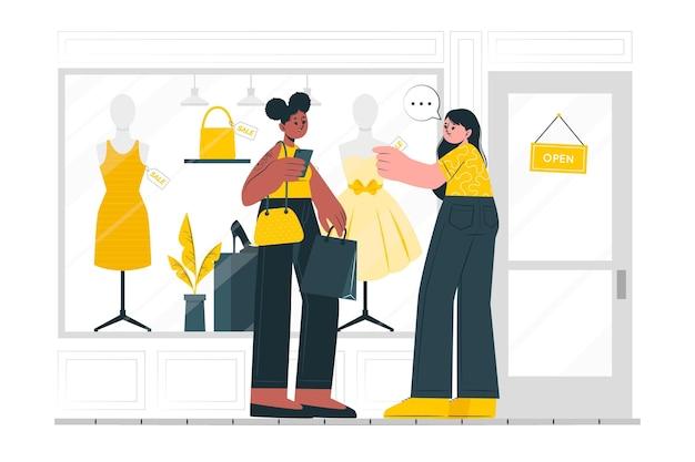 Ilustracja koncepcji zakupów w oknie