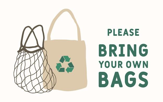 Ilustracja koncepcji zero odpadów ikona ekologicznych toreb z tekstem proszę przynieść własne torby