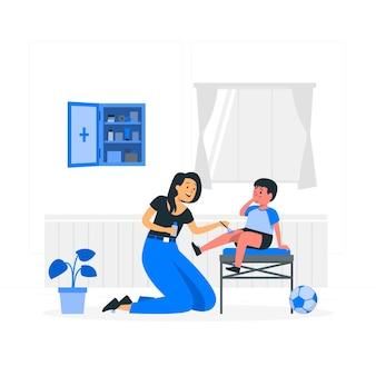 Ilustracja koncepcji zestawu pierwszej pomocy
