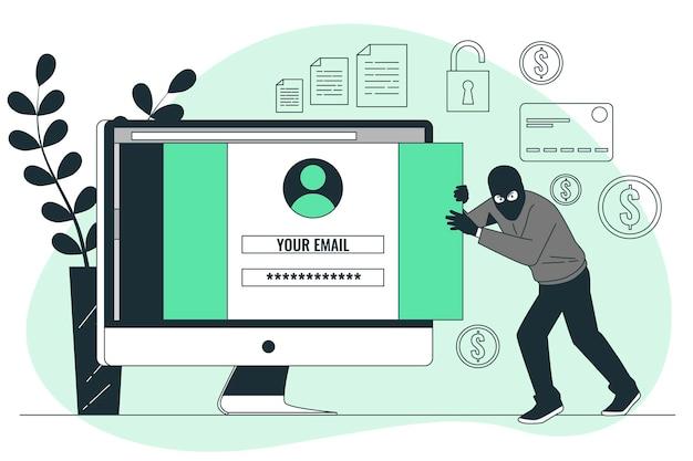 Ilustracja koncepcji złośliwego oprogramowania do kradzieży danych