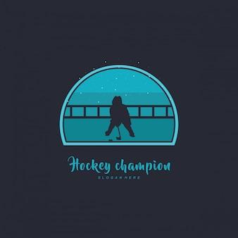 Ilustracja konstrukcji hokeja, sylwetka na lodzie