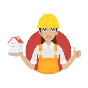 Ilustracja konstruktor kobieta trzyma dom w kręgu, format eps 10
