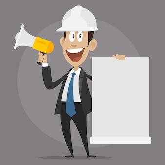 Ilustracja, konstruktor postaci happy mówi w megafonie, format eps 10