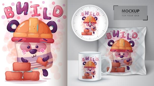 Ilustracja konstruktora niedźwiedzi i merchandising