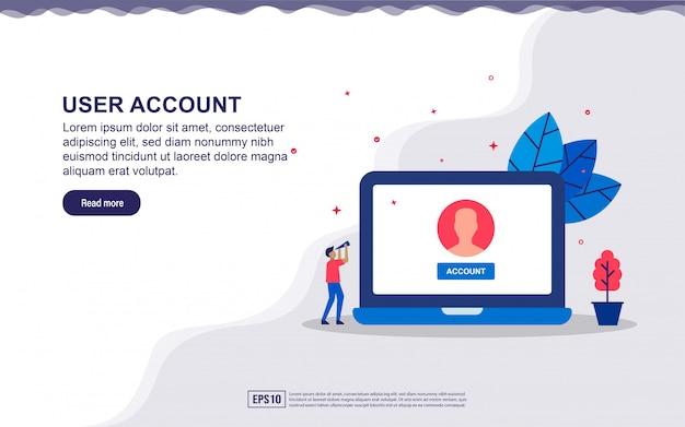 Ilustracja konta użytkownika i użytkownika poczty z urządzeniem i drobnymi ludźmi. ilustracja do strony docelowej, treści w mediach społecznościowych, reklamy.