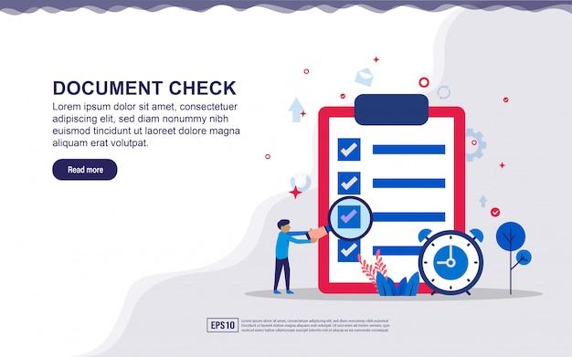 Ilustracja kontroli dokumentów i raportów biznesowych z małymi ludźmi. ilustracja do strony docelowej, treści w mediach społecznościowych, reklamy.