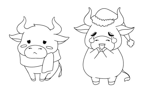 Ilustracja kontur dwóch różnych małych krów na sobie kostium bożego narodzenia dla kolorowanka