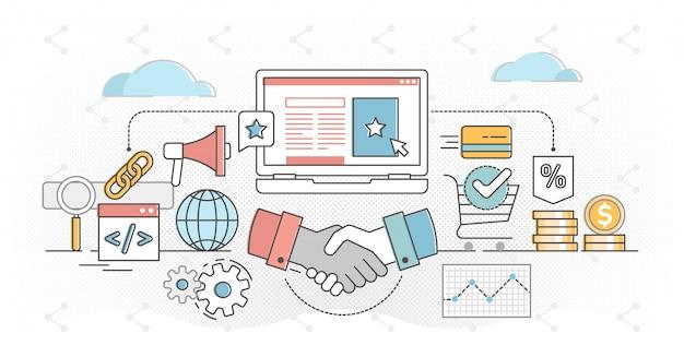 Ilustracja kontur koncepcji marketingu afiliacyjnego