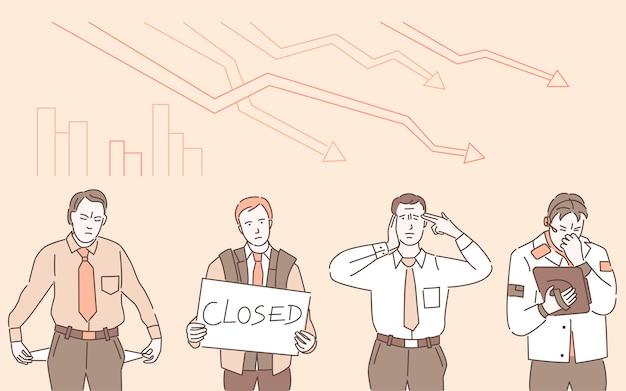 """Ilustracja kontur kreskówka kryzys gospodarczy. smutny mężczyzna trzymający tabliczkę z napisem """"zamknięty"""" i mężczyzna z kieszeniami skierowanymi na zewnątrz, bez pieniędzy. bankructwo, konsekwencje gospodarcze koronawirusa."""