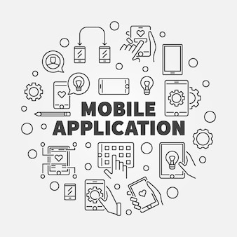 Ilustracja kontur okrągły aplikacji mobilnych