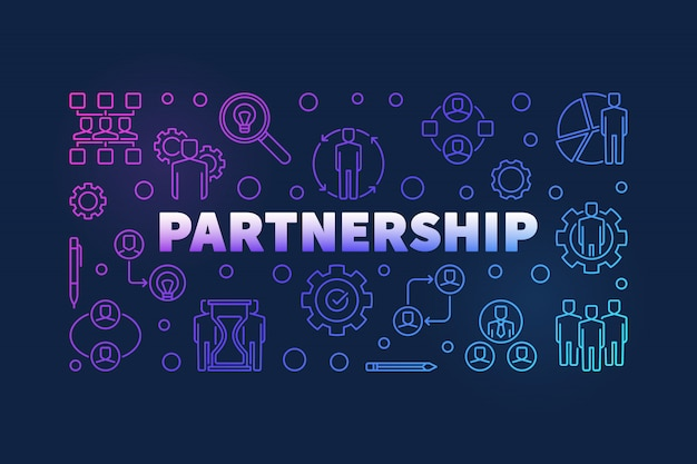 Ilustracja kontur partnerstwa
