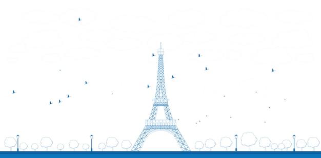 Ilustracja kontur wieży eiffla