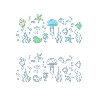 Ilustracja kontur życia morskiego. pojedynczo na białym stworzeń morskich i oceanicznych.