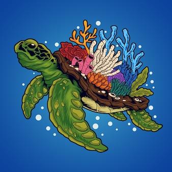 Ilustracja koralowa żółwia morskiego