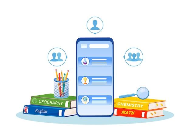 Ilustracja korepetycji online. kształcenie na odległość. przedmioty licealne uczące się smetafory. lekcje zdalne. pomoc domowa. telefon komórkowy i podręczniki obiekty z kreskówek