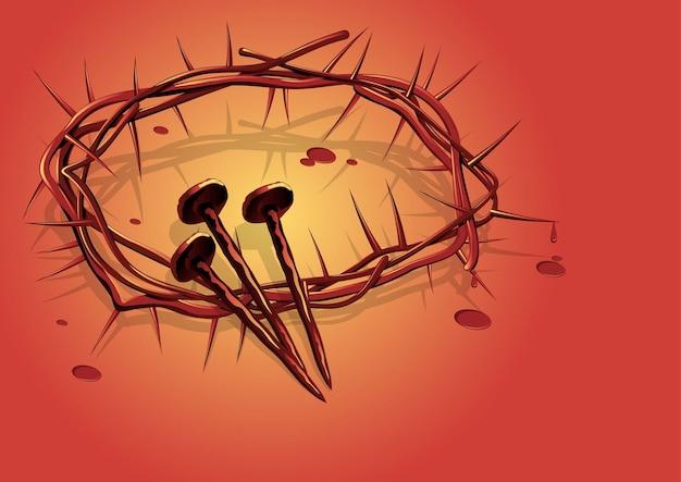 Ilustracja korona cierniowa z gwoździami jezusa chrystusa. seria biblijna