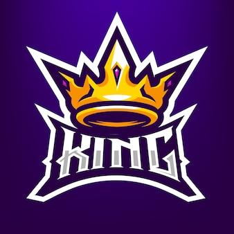 Ilustracja korona króla maskotka dla sportu i e-sportu logo na białym tle na ciemnym niebieskim tle