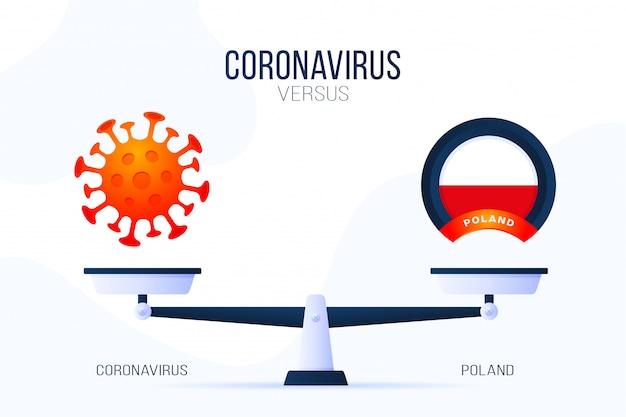 Ilustracja koronawirusa lub polski. kreatywna koncepcja skal i kontra, z jednej strony skali znajduje się wirus covid-19, a z drugiej ikona flagi polski. płaska ilustracja.