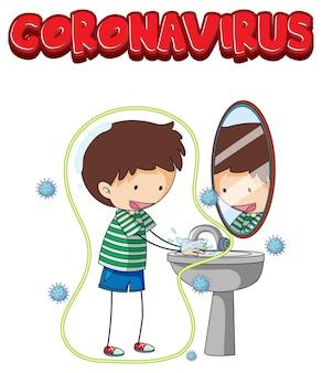 Ilustracja koronawirusa z chłopcem myjącym ręce na biało